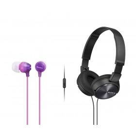 Combo Audífonos Sony Alámbricos On Ear ZX310 Negro + InEar  EX15 Violeta