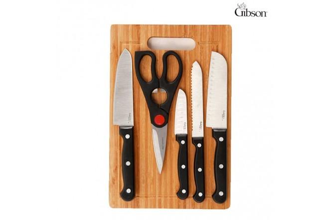 Set GIBSON Tabla de Madera + Cuchillos + Tijeras