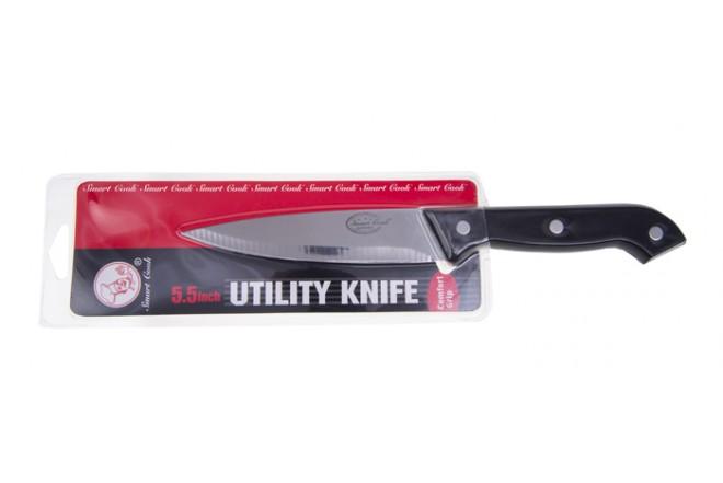 """Cuchillo de Cocina Utilidad 5.5"""" Negro SMART COOK"""
