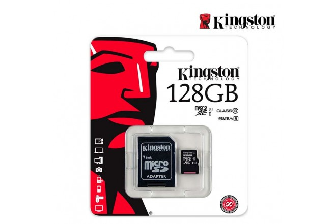 Memoria Micro SD KINGSTON 128GB + Adaptador Cl10
