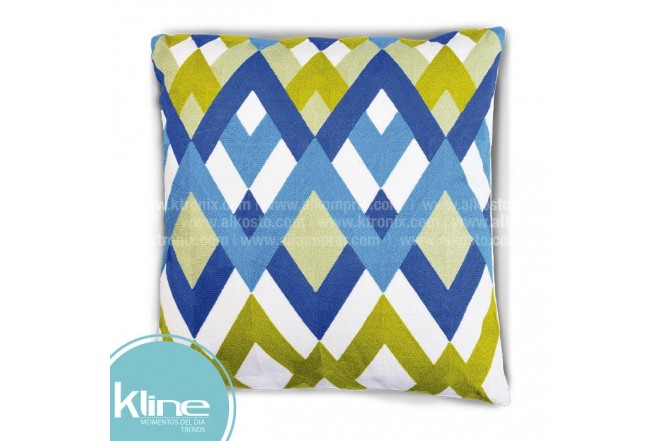 Cojín K-LINE Rombos Verde y Azul 45x45 cm