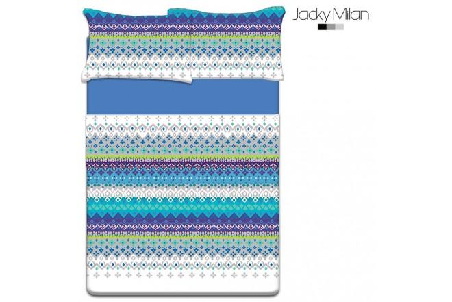 Juego de cama Doble JACKY MILAN Alana Azul 180 Hilos