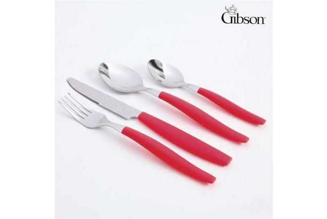 Set de Cubiertos GIBSON 16 Piezas Rojo en Tarro