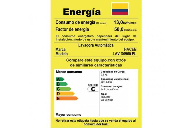 Lavadora HACEB 9.6Kg LAV0960