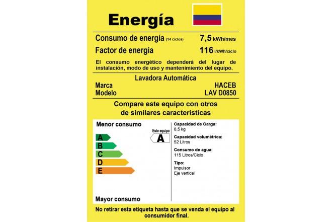 Lavadora HACEB D0850 Plata5