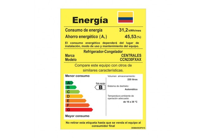 Nevera CENTRALES No Frost 230 Litros CCN230FXAX Gris