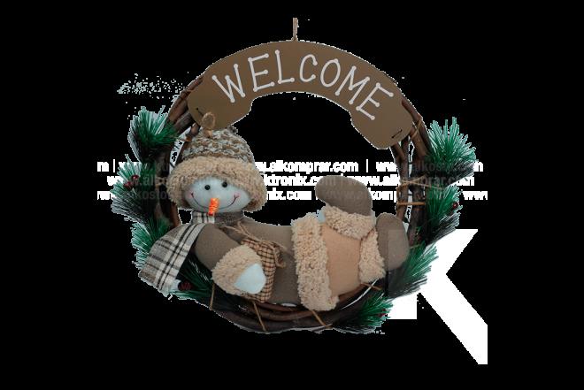 Decoración Navideña Corona Hombre De Nieve Welcome 32 cm