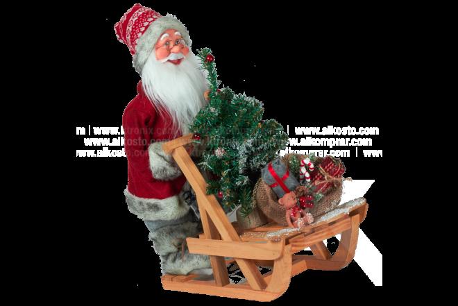 Decoración Navideña Santa Trineo y Bolsa Regalo Con Movimiento