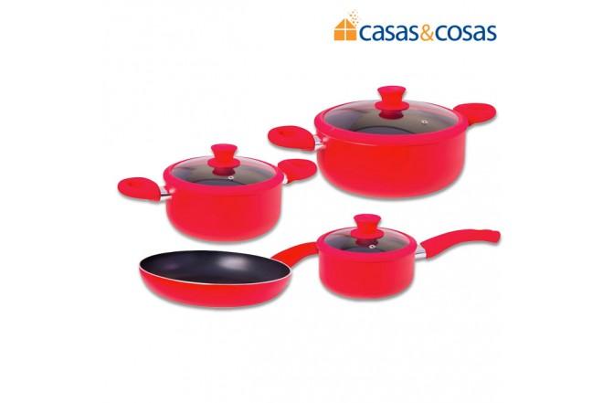 Juego de Ollas CASAS Y COSAS 7 piezas Roja