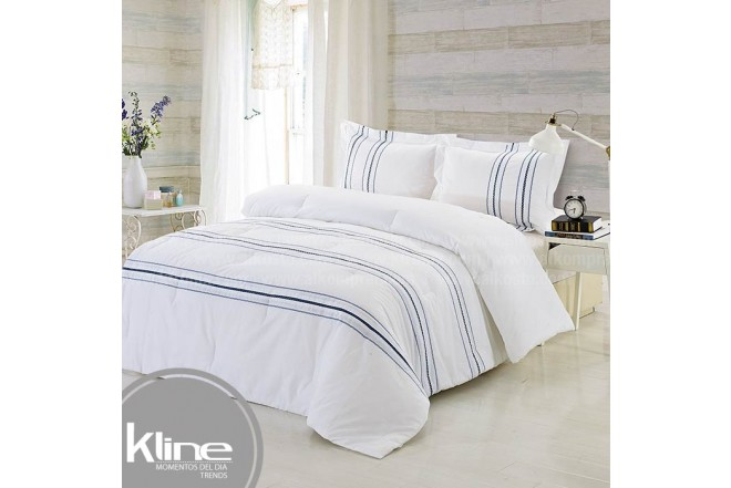 Conforter K-LINE Sencillo Bordado Blanco Algodón