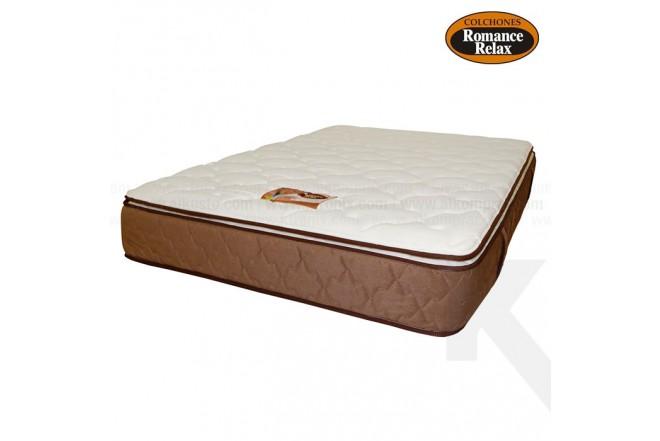 Colchon de espuma Coral extradoble 160x190x28 cms blanco con banda café pillow por un solo lado