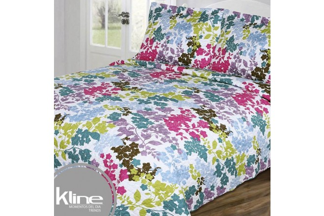 Cubrecama K-LINE Doble Flores Multicolor