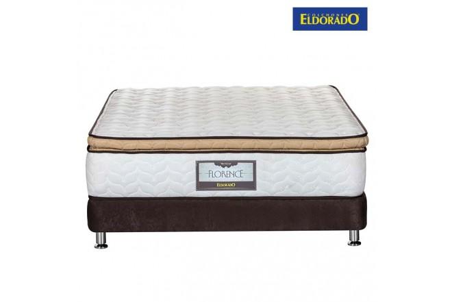 KOMBO ELDORADO: Colchón Doble Florence 140x190 cms Resortado + Base Cama Nova Chocolate