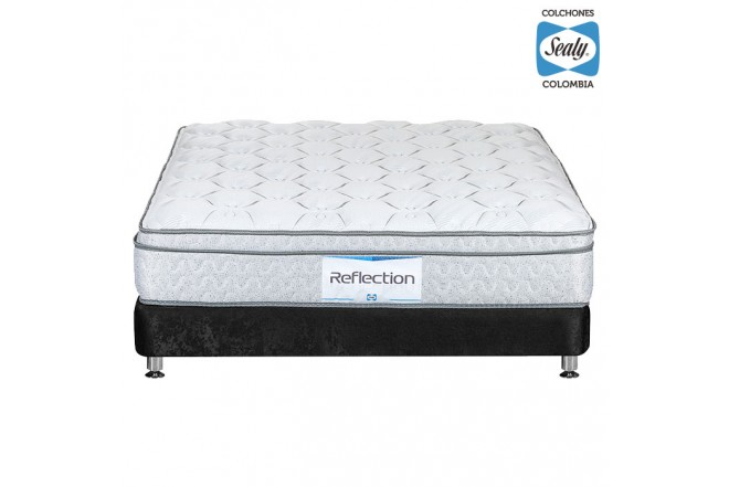 KOMBO SEALY: Colchón King Reflection Firm 200x200x28 cm + Base cama Nova Negra