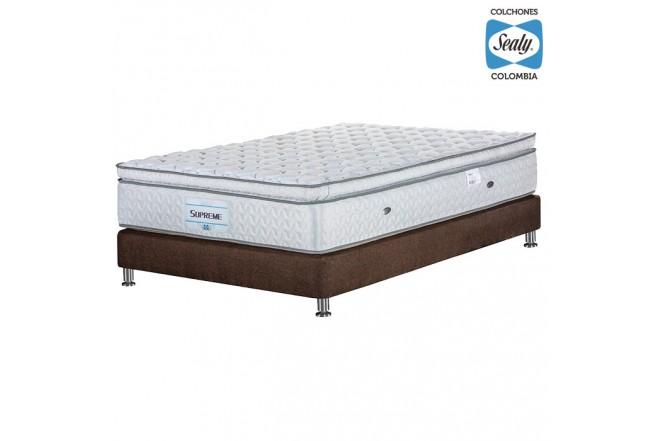 KOMBO SEALY: Colchón Semidoble Supreme Firm 120x190x32 cm + Base cama Duken Marrón