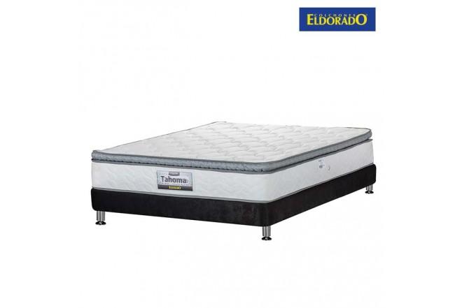 KOMBO ELDORADO: Colchón Semidoble Tahoma 120x190 cms Resortado + Base Cama Nova Negra