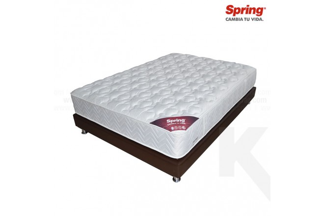 KOMBO: Colchón de Resorte SPRING Emotion C-3 Semidoble + Base Cama Salim