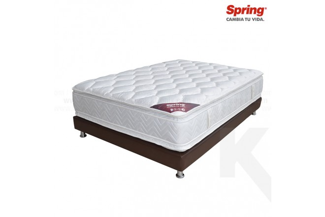 KOMBO: Colchón de Resorte SPRING Life New C5 Doble + Base cama Salim Doble