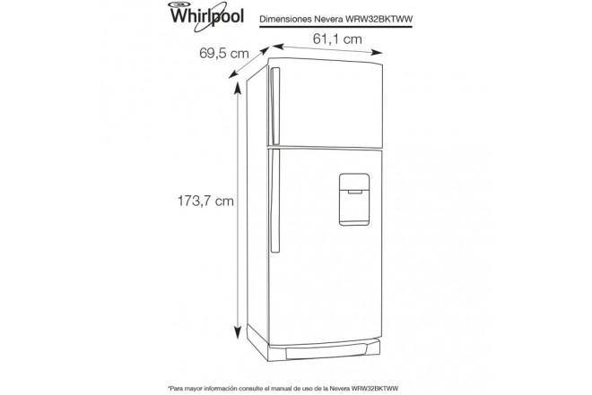 Nevera WHIRLPOOL 305Lts WRW32BKTWW