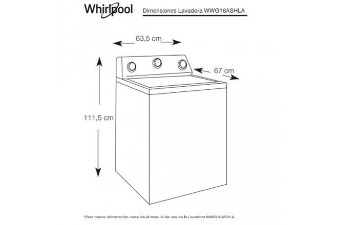 Lavadora WHIRLPOOL 16KG AGPER WWG16ASHLA