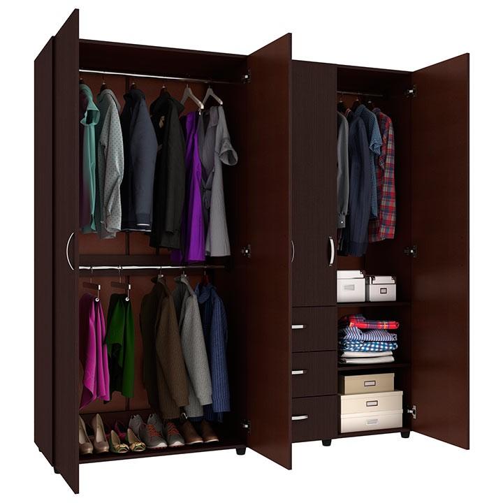 Armario 180 cm practimac sof a 4 puertas 3 cajones wengue - Armarios para ropa ...
