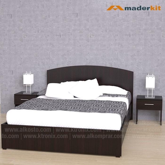 kombo maderkit cama doble mesas de noche