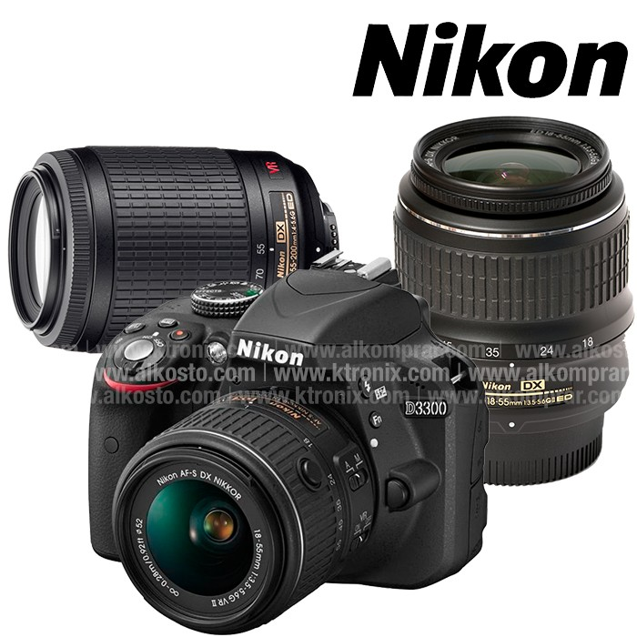Kombo Camara NIKON D3300 Profesional + Lente 18-55 + 55-200 + ...