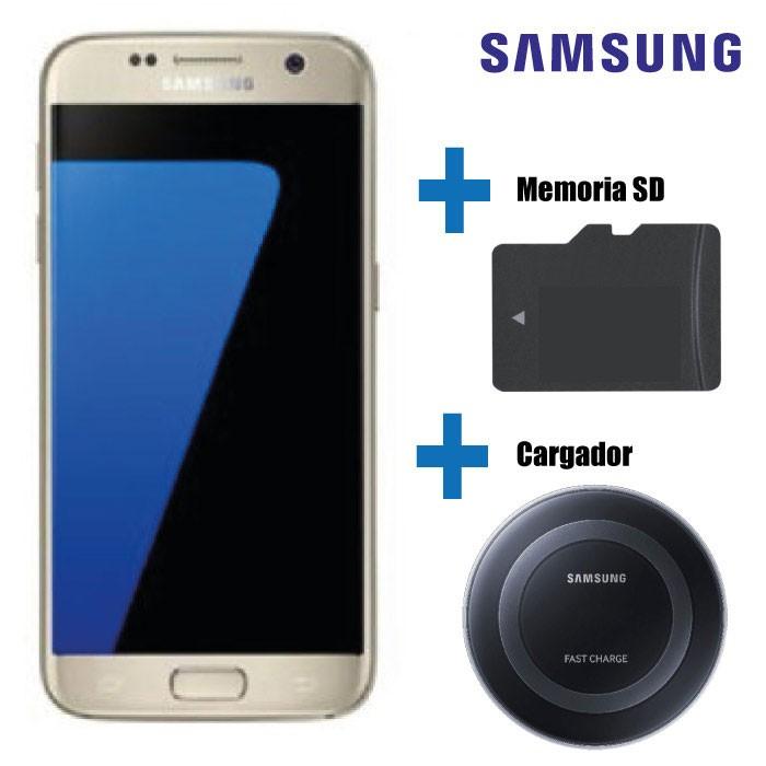 Celular Samsung S7 Edge +Cargador+SD32 Dorado Alkomprar.com
