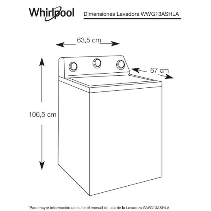 Lavadora whirlpool 13kg agper wwg13ashla for Medidas de lavadoras