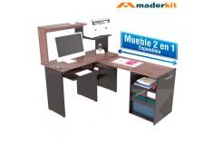 Centro de Cómputo MADERKIT  2 en 1 Wengue/Expreso 00751