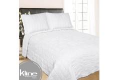 Cubrecama K-LINE Doble Blanco Cuadros Algodón 100%
