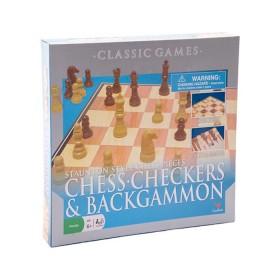 Juego de mesa 3 en 1: Ajedrez, Damas y Backgammon
