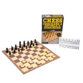 Juego de mesa 3 en 1: Damas, Ajedrez y Domino