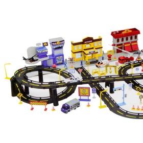 EXPRESS WHEELS Playset Track N' Town Edificios y Vehículos de Emergencia