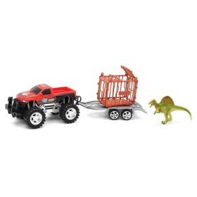 Camioneta con remolque y dinosaurio