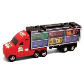 Camión transportador con 6 vehículos rojo