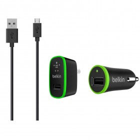 Combo Belkin 3 en 1 Cargadores 2,4 Amp Pared + Auto  + Cable Micro/USB 1,2 Mts