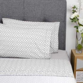 Juego de cama K-LINE Doble Estampado Blanco/Gris 100% Microfibra
