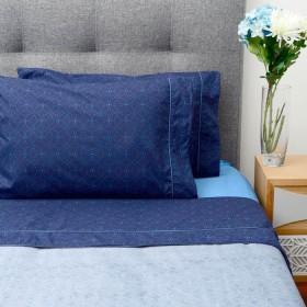 Juego de cama K-LINE Doble Azul Medio/Profundo Microfibra 100%