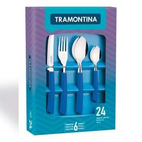 Juego de Cubiertos TRAMONTINA 24 Piezas Brisa Azul