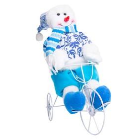 Muñeco de Nieve en Triciclo Azul 12 cm