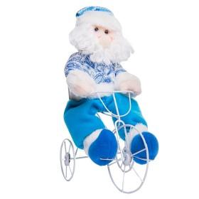 Muñeco de Santa Claus en Triciclo Azul 12 cm