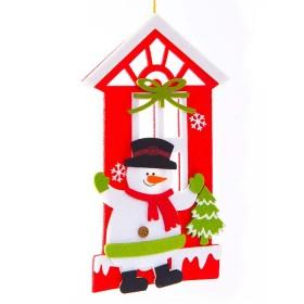 Colgante plano de Casa y Muñeco de nieve de 8 cm