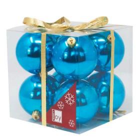 NAVIDAD Set x 8 Esferas Azules de 8 cm