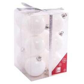 NAVIDAD Set x 12 Esferas Blancas de 6 cm