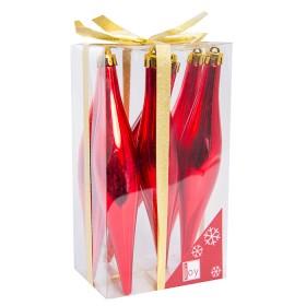 NAVIDAD Set x 6 Adornos Colgantes Rojos de 15 cm