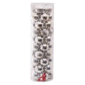 NAVIDAD Set x 50 Esferas Plateadas de 8 cm