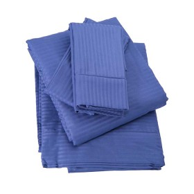 Juego de Cama King KAMUCHY Saten 250 Hilos Azul