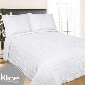 Cubrecama K-LINE Sencillo Blanco Cuadros Algodón