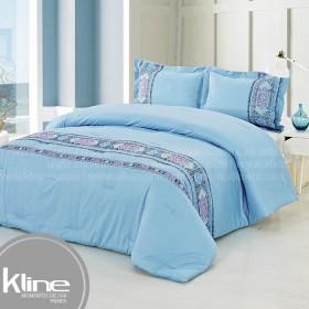 Conforter K-LINE Doble Bordado Azul Algodón